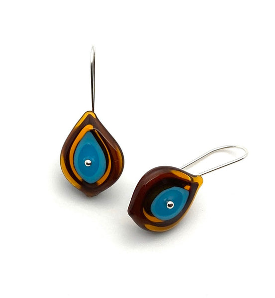Leaf Dangle Earrings in Brown and Turquoise Glass and Sterling Silver
