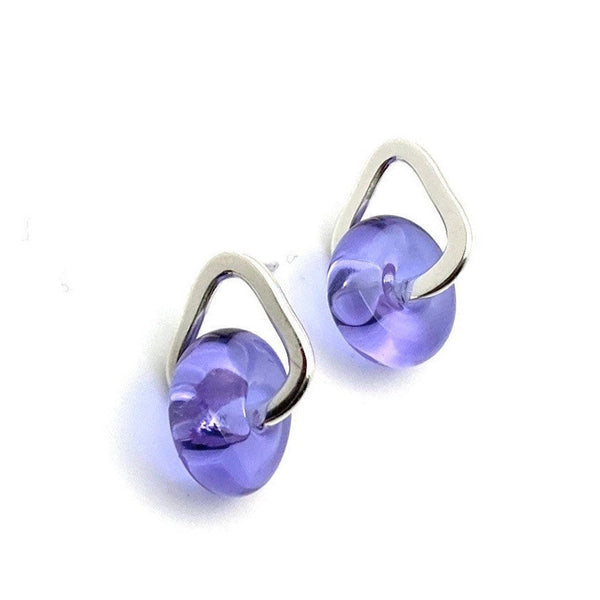 Glass And Silver Donut Earrings In Lavender