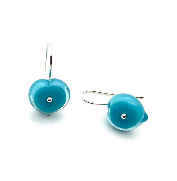 Short Heart Earrings in turquoise aqua glass sterling silver