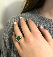Square Ring in Green and Teal Glass and Sterling Silver Framed Square Ring Shank US Size 6