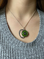 Circle Necklace Stacked in Gray and Green Glass and Sterling Silver