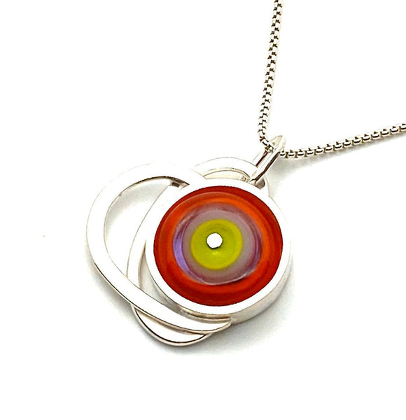 Circle Necklace Stacked in Orange Lavender and Lime Green Glass and Sterling Silver