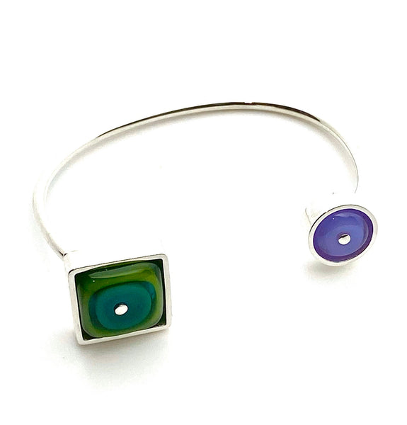 Double Sided Cuff Bracelet Green Teal Lavender