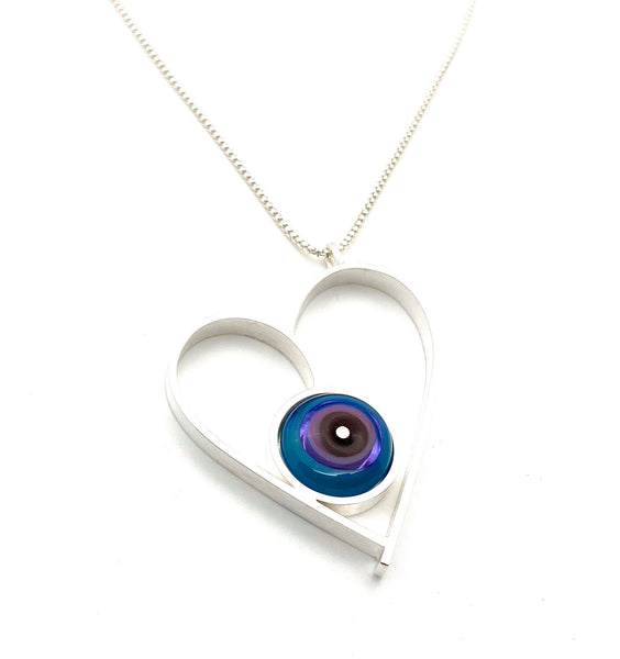 Large Heart Necklace Multi Color Glass and Sterling Silver