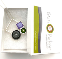 Falling Squares Necklace, Modern, Gray Purple Green
