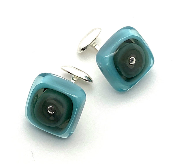 Square Cuff Links in Turquoise and Gray Glass and Sterling Silver