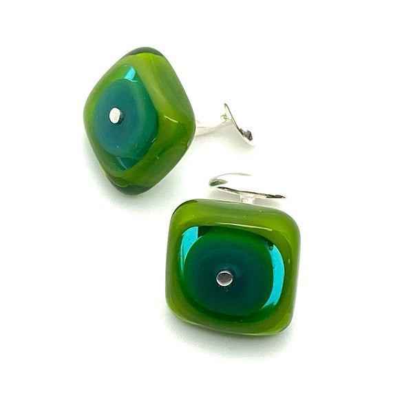 Square Cuff Links in Green and Teal Glass and Sterling Silver