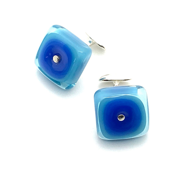 Square Cuff Links Blue and Turquoise Lampwork Glass and Sterling Silver