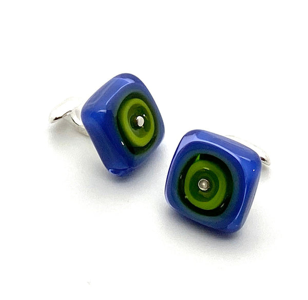 Square Cuff Links Green and Purple Lampwork Glass and Sterling Silver