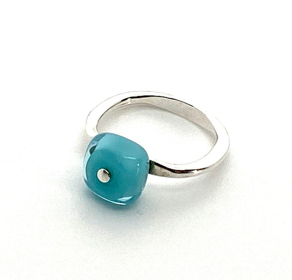 Tiny Square Rings Glass in Turquoise US size 7.25