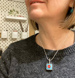 Square Drop Necklace Sterling Silver and Modern Art Glass in Red and Turquoise