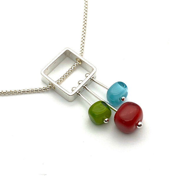 Petite Stem Necklace Red, Aqua, Green