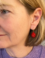 Glass Leaf Drop Earrings in Red Glass and Sterling Silver