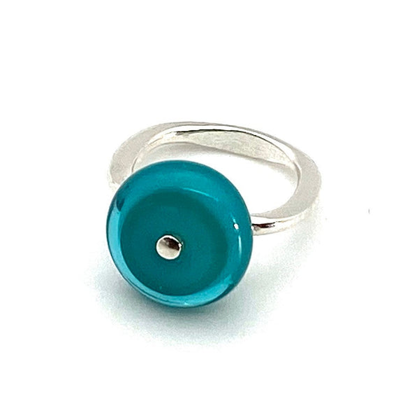 Circle Ring Simple Glass in Turquoise Teal with Rounded Square Band