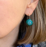 Small Circle Dangle Earrings in Turquoise and Teal Glass and Sterling Silver