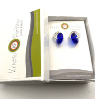 Glass And Silver Donut Earrings in Intense Blue