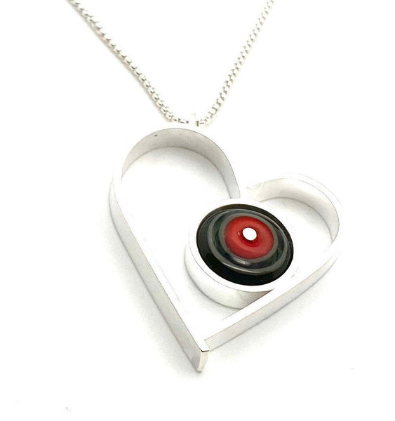 Large Heart Necklace in Red and Gray Glass and Sterling Silver Framed