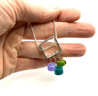 Petite Stem Necklace Teal, Lavender,and Green Glass and Sterling Silver