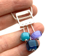 Petite Stem Necklace in Blue, lavender, and turquoise glass and sterling silver