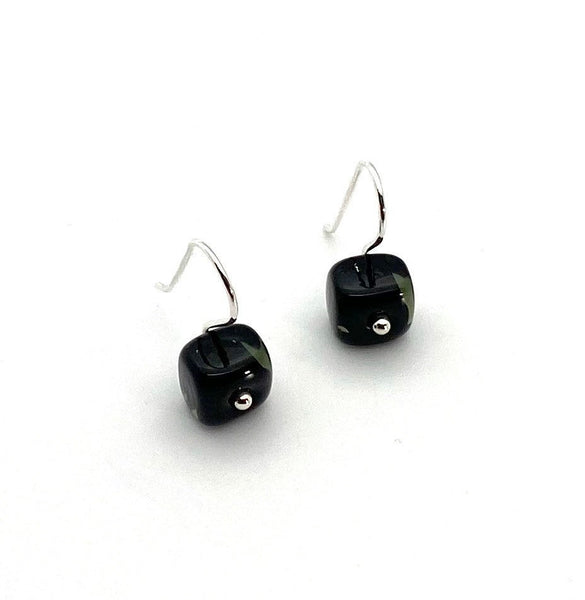 Tiny Square Dangle Earrings in Black Glass and Sterling Silver