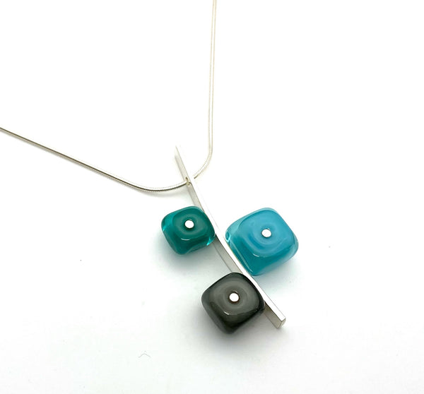 Tiny Squares Stick Necklace in Turquoise, Teal, Gray Necklace