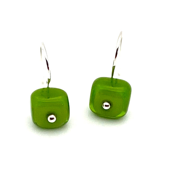 Tiny Square Dangle Earrings in Green Glass and Sterling Silver