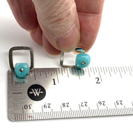 Square Silver and Glass Stud Earrings in Turquoise