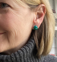 Tiny Leaf Stud Earrings in Teal Glass and Sterling Silver