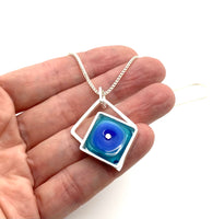 Small Offset Square Necklace in Blue and Turquoise