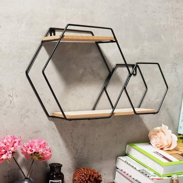 Wandregal Eisen Hexagon Design - werkzeug-online24