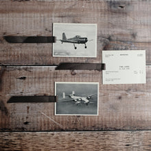 Load image into Gallery viewer, Aircraft recognition card bookmark.  Photograph, grey designs.