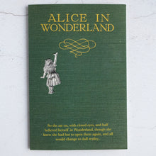 Load image into Gallery viewer, Green cloth Alice In Wonderland book design card with quotation from Alice's Adventures in Wonderland.