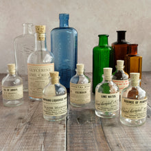 Load image into Gallery viewer, Apothecary bottle 200ml heavyweight glass with cork top and vintage label