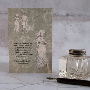 Pride and Prejudice quotation card.  What news?