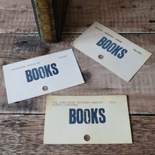 Load image into Gallery viewer, Vintage library index card bookmark. BOOKS