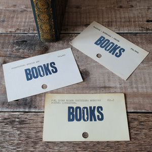 Vintage library index card bookmark. BOOKS