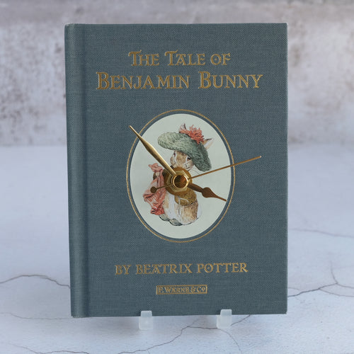 Book clock repurposed from Benjamin Bunny by Beatrix Potter.