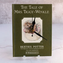 Load image into Gallery viewer, Mrs. Tiggy-Winkle book clock.  Beatrix Potter's beloved Hedgehog tale.