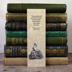 "Bookmark with Descartes quotation.  ""The reading of all good books..."""