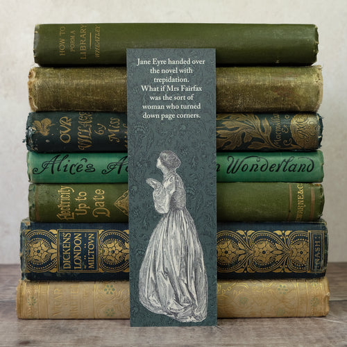 Jane Eyre book lender humour bookmark.