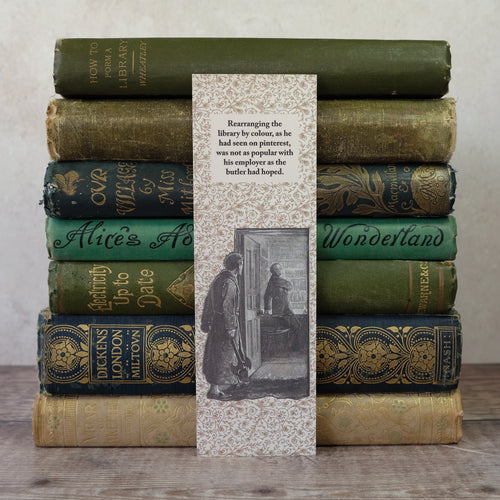 Bookshelf layout humour bookmark featuring a Sherlock Holmes illustration.