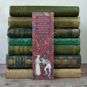 Book lender humour bookmark featuring Elizabeth Bennet and Mr Wickham.