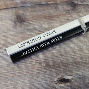 Once Upon A Time... & ...Happily Ever After monochrome square pencil pair