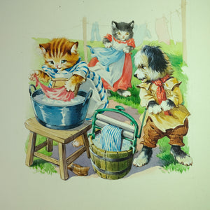 Original children's book illustration painting of cats and dogs.