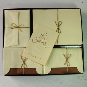 Large box of vintage cream writing paper & envelopes.  Three Candlesticks brand.