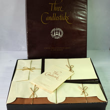 Load image into Gallery viewer, Large box of vintage cream writing paper & envelopes.  Three Candlesticks brand.