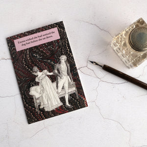 Jane Austen humour card with dip pen and inkwell.