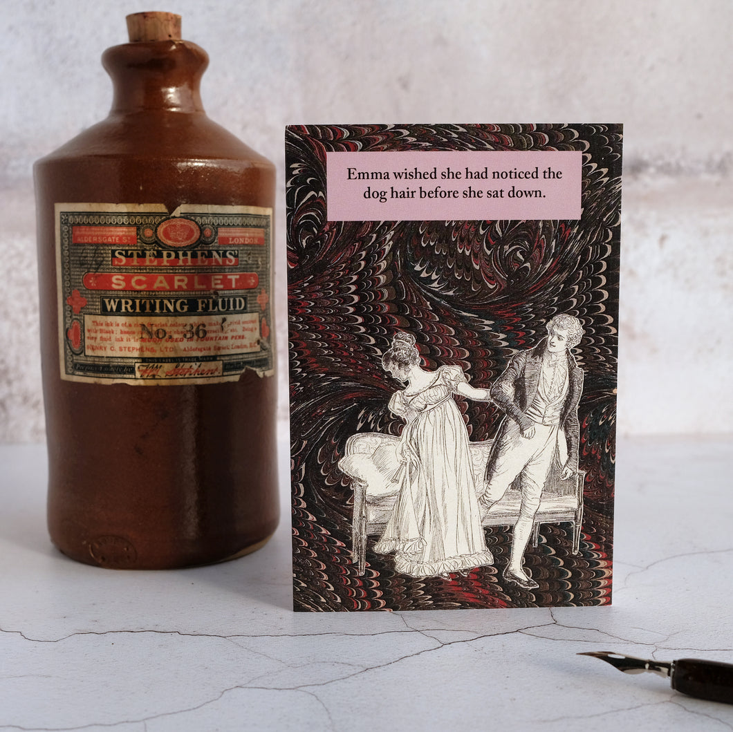 Stone ink bottle and Jane Austen dog hair humour card.