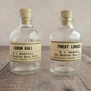 Small apothecary bottle featuring an original Victorian label (H J Manfull options)