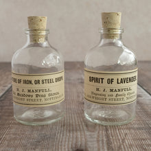 Load image into Gallery viewer, Small apothecary bottle featuring an original Victorian label (H J Manfull options)